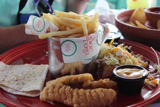 Senor Frog's: The app sampler platter (about half eaten) plenty of food for two!