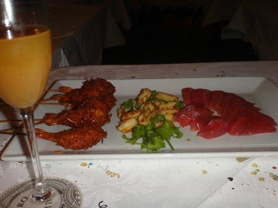 Bistro Tatau : Mimosa + Appetizers: coconut prawns, squid, and sashimi