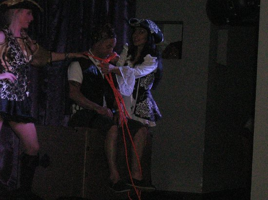 Hotel Lanzarote Village: my hubby getting roped into one of the shows!