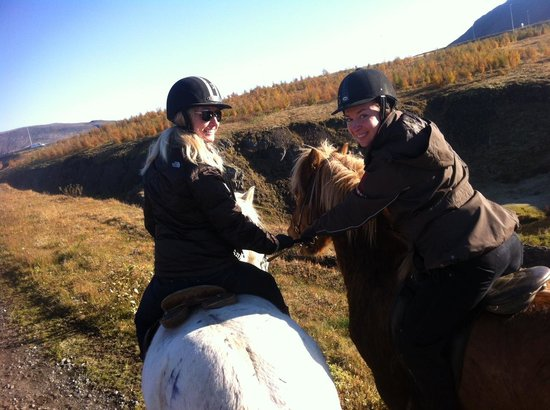 Laxnes Horse Farm: Me being 'guided' by the pro.