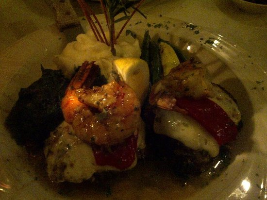 Martini Grill: Filet mignon medallions topped with mozzarella, roasted peppers and shrimp