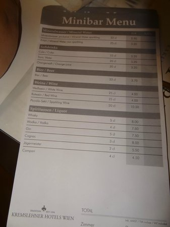 Hotel Royal: Minibar prices