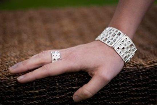 DeLong Studio: Textured sterling silver bracelet