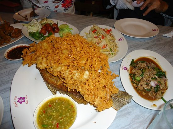 Som Tom Chaba: fried fish with fresh herbs, must try. the dipping sauce is out of this world!