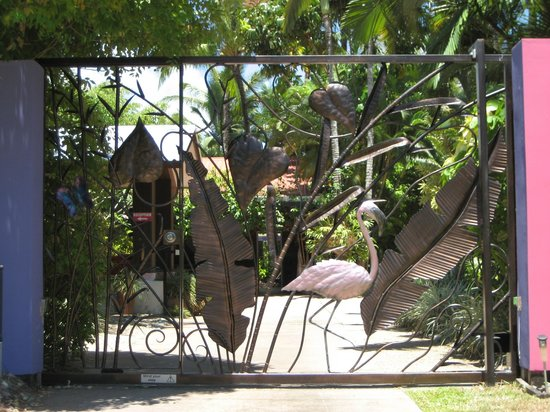 Pink Flamingo: Resort entrance, security gate