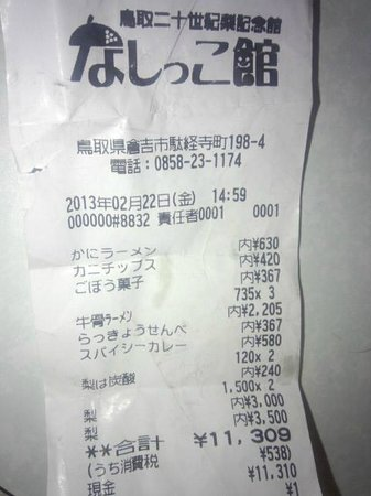 Nashikkokan: お土産代
