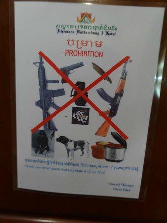 The Khemara Battambang I Hotel: Fiche apposée dans chaque chambre !