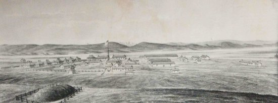 Cavalryman Steakhouse: A historical drawing of Fort Sanders in the late 1880s.