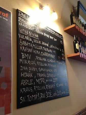 Vinograf  Wine Bar: Czech white wines on offer
