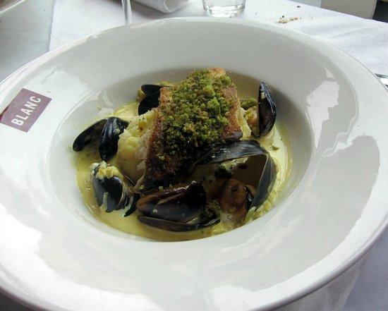 Brasserie Blanc The Opera Terrace : Haddock Fillet, Mussel & Saffron Sauce