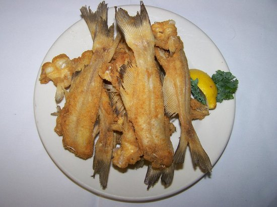 "The Catfish House: ""Little Ones"" on the Bone from Lake Okeechobee with light beading and fried"