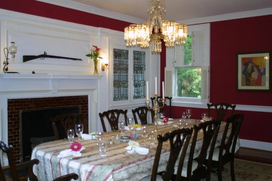 Annapolis Royal Folly: Formal Dining Room with Leaded Glass and Chandelier
