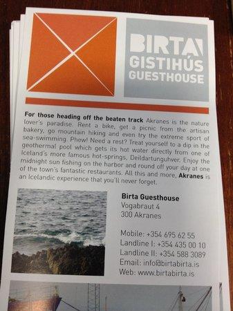 Birta Guesthouse : Broschure