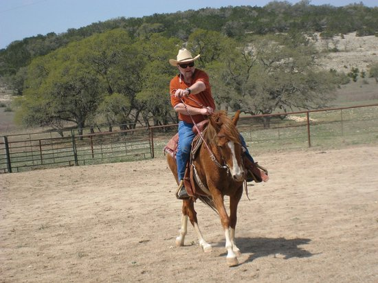 "Rancho Cortez Day Trips: Dad taking a ""smooth"" ride on one of the new Peruvian horses."