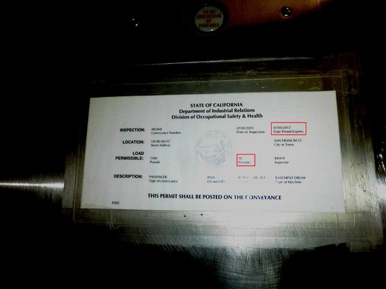 SF Plaza Hotel: Expired elevator permit