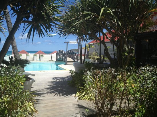 Tom Beach Hotel: Lush garden path over pool leads to restaurant