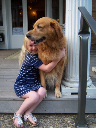 Cafe Cimino Country Inn: resident therapy golden gets a hug from a little guest
