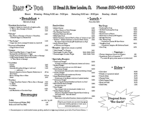 Kamp Dog: Menu - March 2013