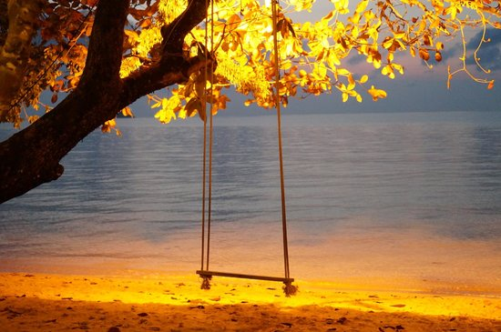 Gajapuri Resort & Spa: Night time Swing on the beach