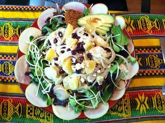 PachaMama's Organic Cafe: citrus, apple, onion, feta, (huge!) sprouts, avocado, currants