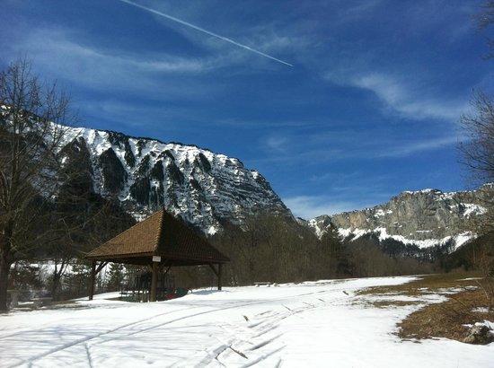 Au Gai Soleil du Mont Aiguille: Le petit parc en face de l'hôtel