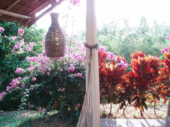 Mangosteen Resort & Ayurveda Spa: Flowers ourside room with hammock and table