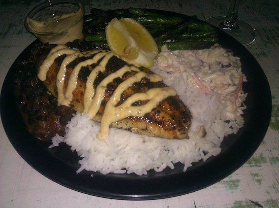 Fishbones: Blackened Catfish with green beans, black beans, jasmine rice and wasabi slaw...YUM!