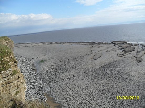 Nash Point Lighthouse: Looking down at the cliffs