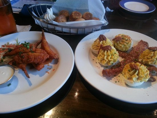 Ford's Fish Shack : Buffalo wings and deviled eggs with bacon