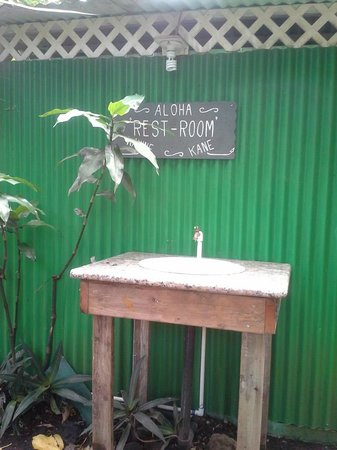 Kalapana Village Cafe: The outside bathroom sink.