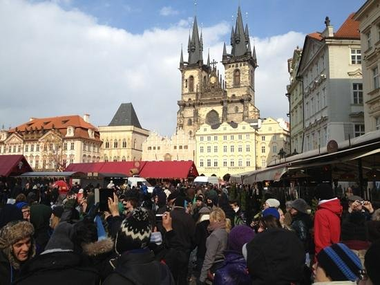 Ventana Hotel Prague : Old town square with Tyn church in fore ground Ventana nearby.