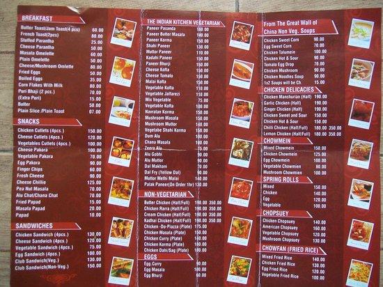 Hotel R. Maidens, Kasauli - Restaurant : Menu Card