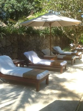 Komaneka at Monkey Forest: lounges at poolside
