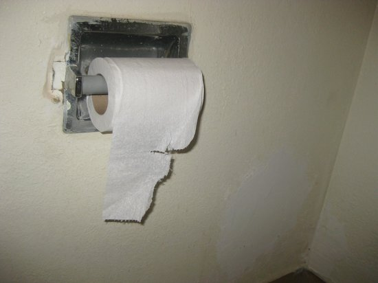 Magnuson Hotel Clearwater Central: Notice the patched wall and old toilet paper holder