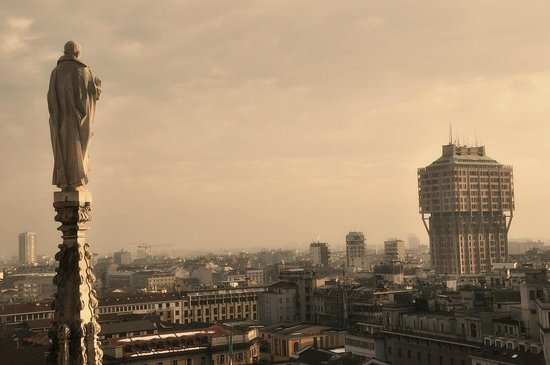 Torre Velasca from the roof of Il Duomo