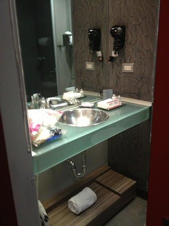 Ramada Encore Chihuahua: small vanity space. had to use lower shelf and the one from above the toilet