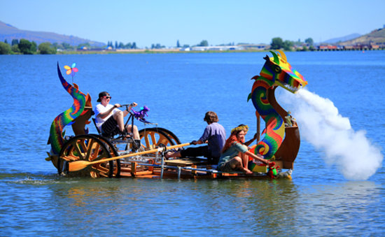 Annual Kinetic Sculpture Race in Klamath Falls on Lake Ewauna