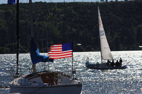 Klamath Falls, OR: Sailing Upper Klamath Lake during the Firecracker Regatta
