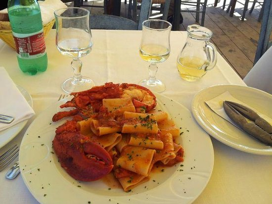 pasta & lobster with good house wine