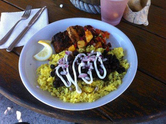 The Beach Shack on Ocean Ave: Blackend mahi with rice & beans.