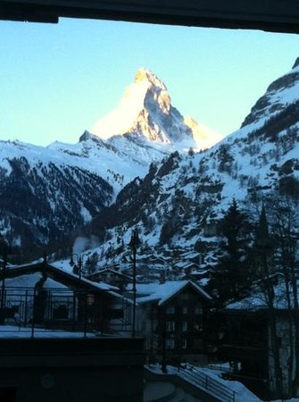 Parkhotel Beau Site: Matterhorn from our room, 6:30 am, March 16, 2013