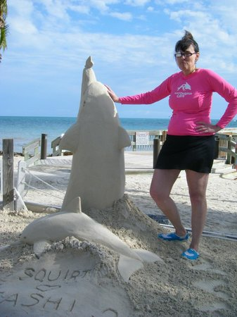 Sand-Isle: My sister with her creation!  (with a LOT of help from Chris!)
