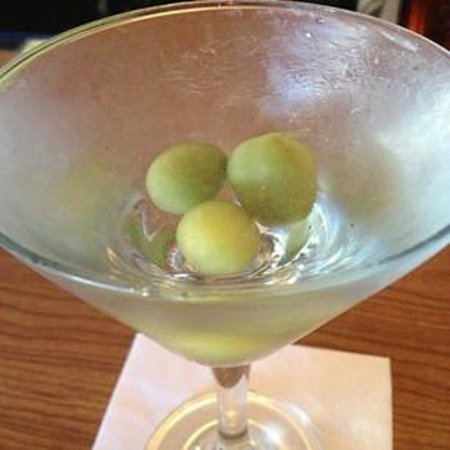 Bubala's by the Bay : My Ketel One martini with pickled tomatoes (they're not olives!)