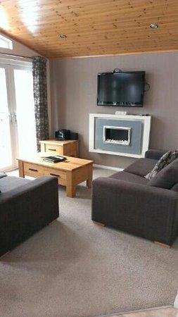 Athelington Hall Log Cabin Holidays: modern sitting room