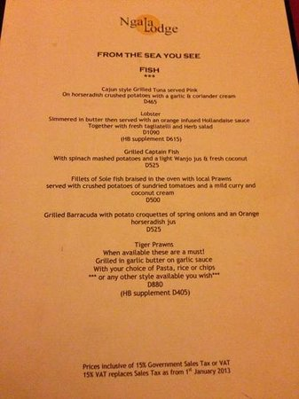 Ngala Lodge: Seafood (Captain Fish is incredible) - March 2013