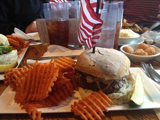 Blue & Gray Bar & Grill: blue cheese burger w/sweet tater waffle fries