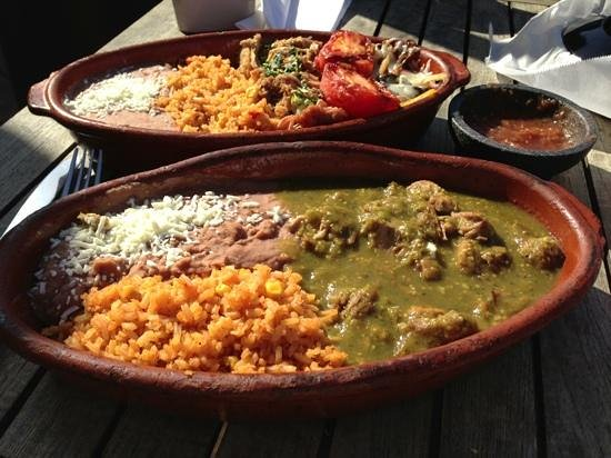 The Prickly Pear Cantina: chili verde & carnitas plates