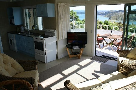 Swallows Nest Accommodation: Kitchen with Ocean & bay views.