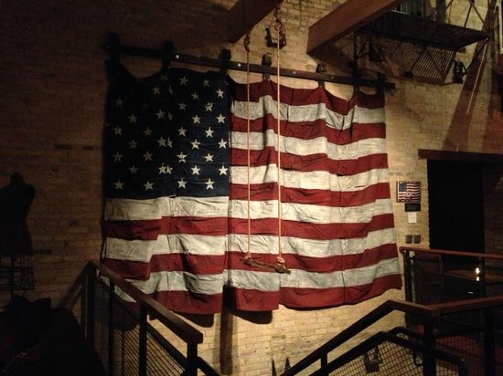 The Iron Horse Hotel: American flag made from old blue jeans.