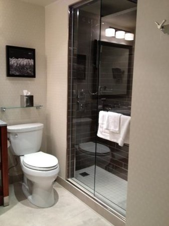 The Fairmont Winnipeg: renovated bathroom with stand up shower